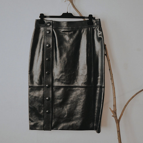 Givenchy High Rise Leather Midi Skirt - Size FR 44