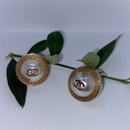Vintage Chanel Buttons set In Sterling Silver Clip On Earrings