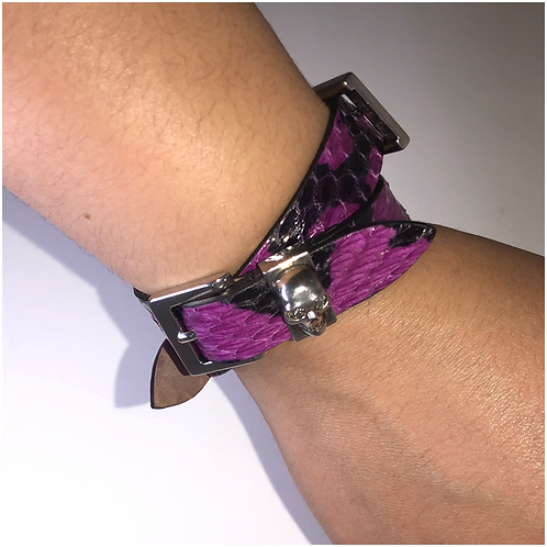 Alexander McQueen Purple Python Wrap Bracelet