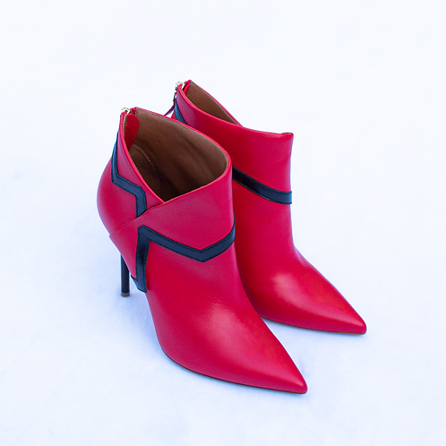 Malone Souliers x Emanuel Ungaro Amelie 100 Red Leather Ankle Boots - Size 38