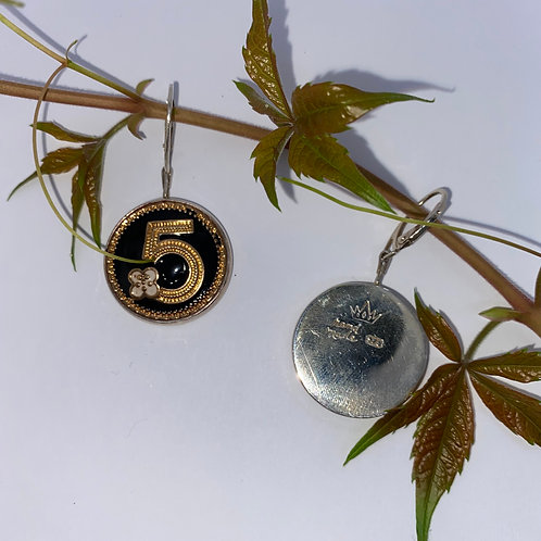 Vintage Chanel Buttons set In Sterling Silver Earrings