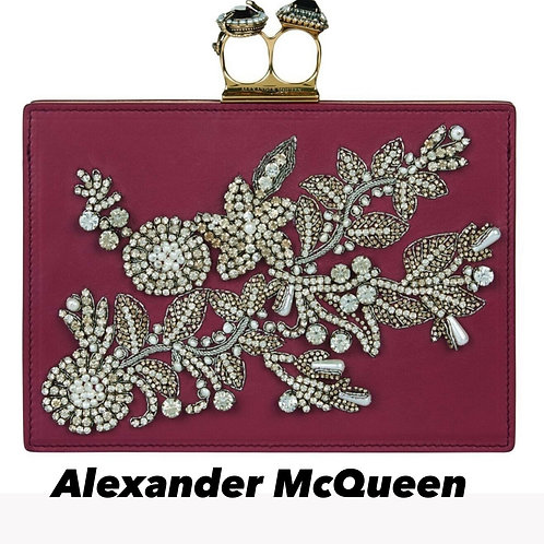 Alexander McQueen Encrusted Swarovski Two Ring Cluth Bag