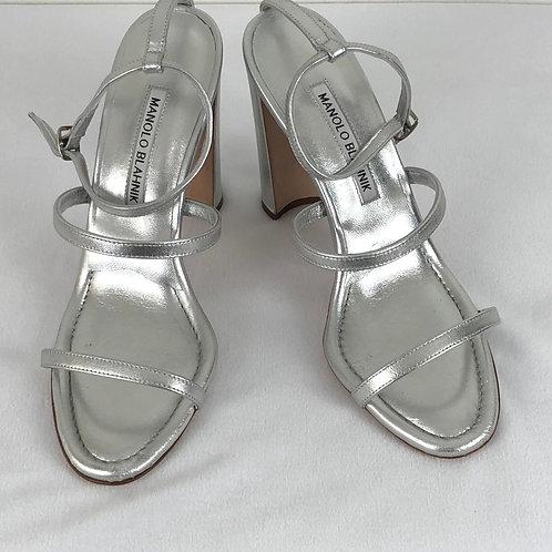 Manolo Blahnik Silver Napa Leather Sandals Size 38.5