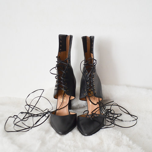 Ferragamo Black Leather Lace Up Booties - Size 37