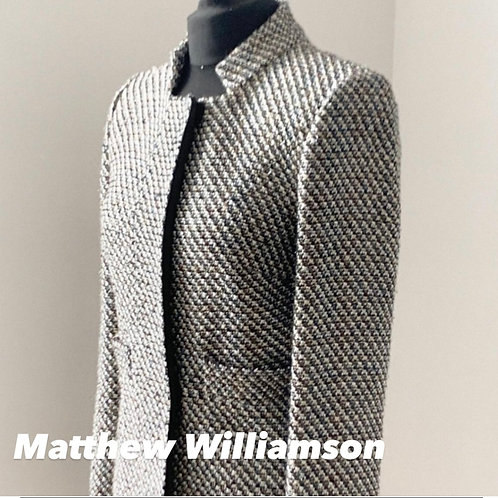 Matthew Williamson Tweed With Weaved Silver Thread Classic Coat Size 8