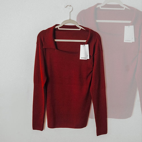 Jacquemus Collared Square Neck Knitted Top in Burgundy
