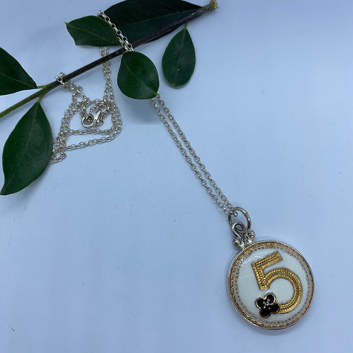 Vintage Chanel Button Set In Sterling Silver Necklace