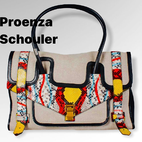 Proenza Schouler Canvas And Python Embossed Leather Bag