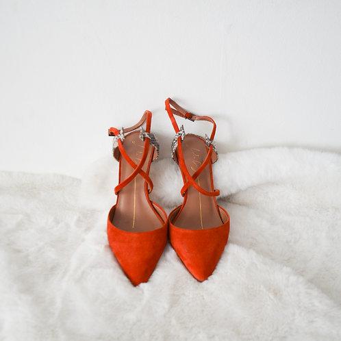 Lola Cruz Orange Suede Heels - Size EU 35