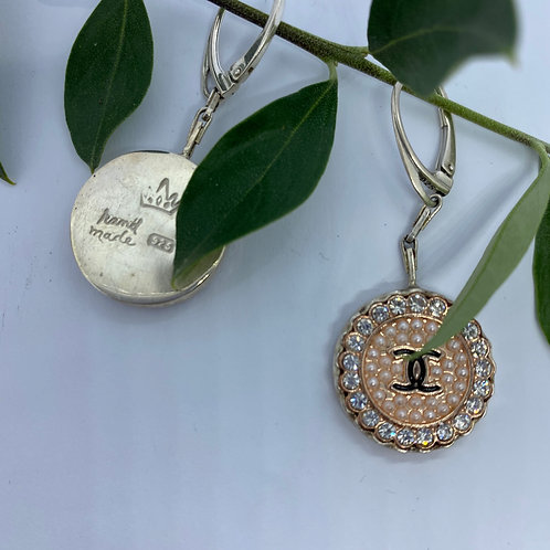 Vintage Chanel Button set In Sterling Silver Earrings