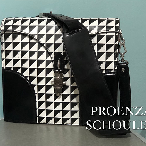 Proenza Schouler Black White Triangle Check Leather Bag