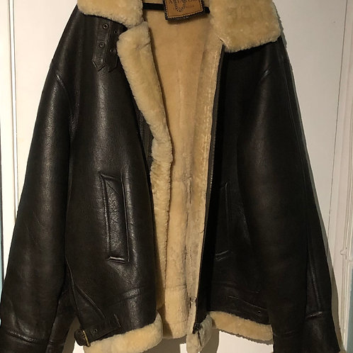 LEATHER SHEARLING  AVIATIOR JACKET Size XXL