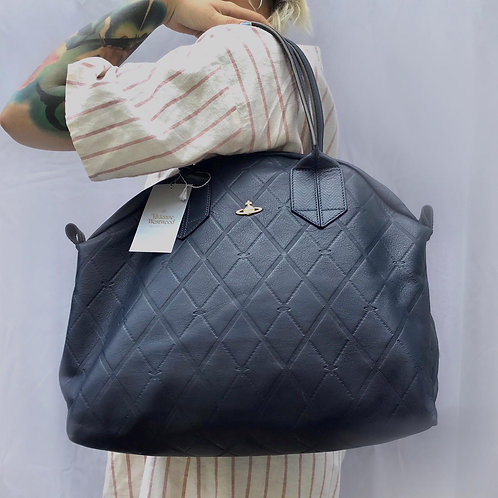 Vivienne Westwood Dimond Pattern Navy Leather Bag