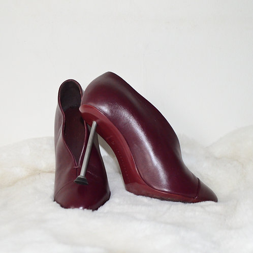Victoria Beckham Burgundy Leather Heels - Size 39