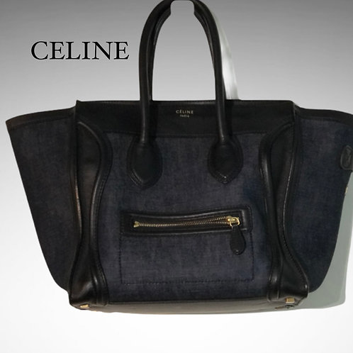 Celine Black Calf Leather And Navy Textile Micro Luggage Tote