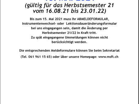 Meldeschluss 15. Mai 2021