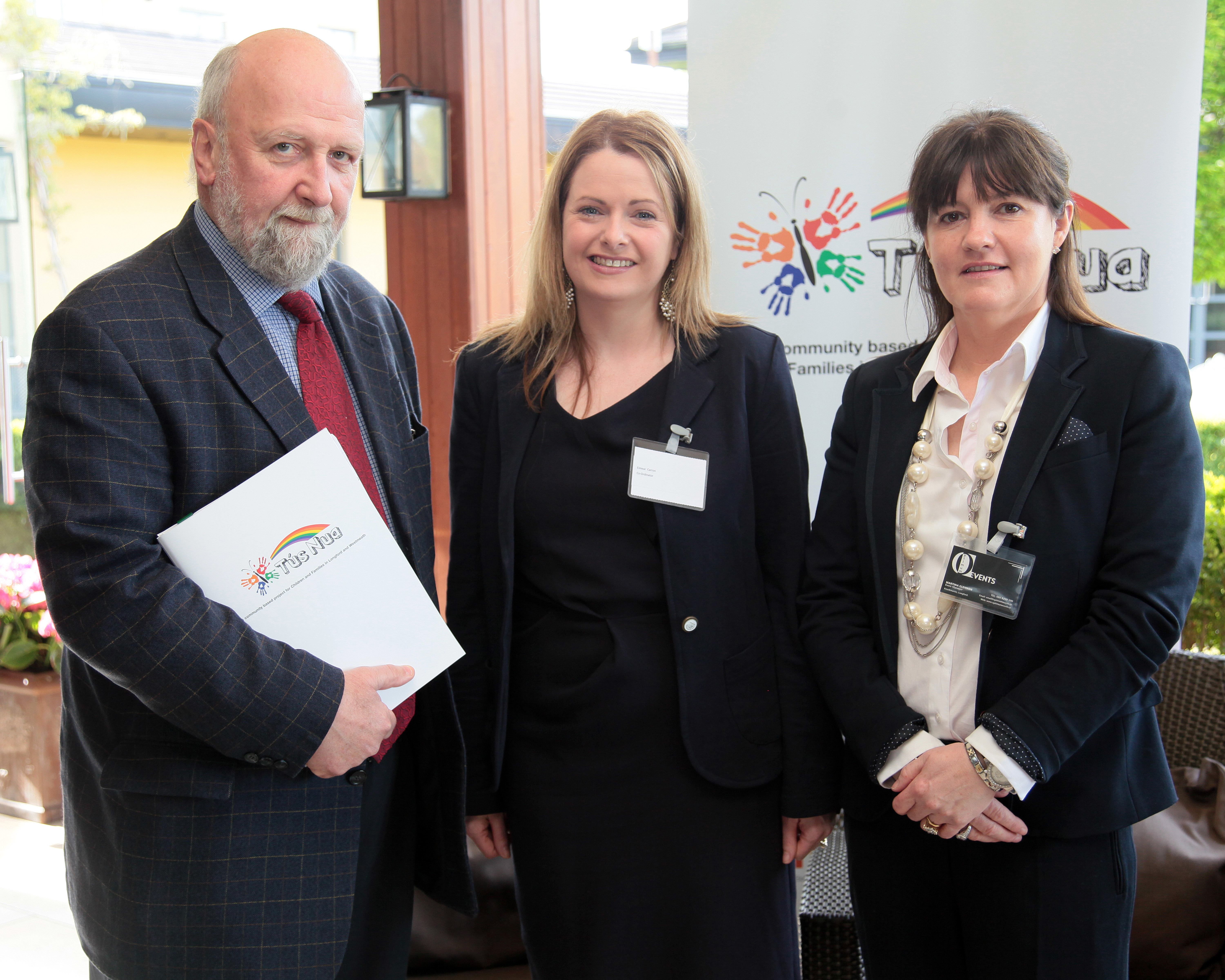 Fergus Finlay as keynote speaker at Tús event with Eimear Carron Longford CCC and Martina Glennon