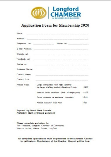 Application form 2020 - Longford Chamber