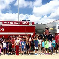 Pearland Fire Dept. Visits Gathering Kids at Nolan Ryan