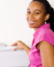 african business woman standing by copy
