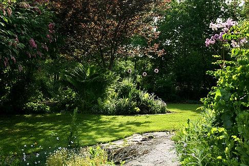Grönskande trädgård i solsken
