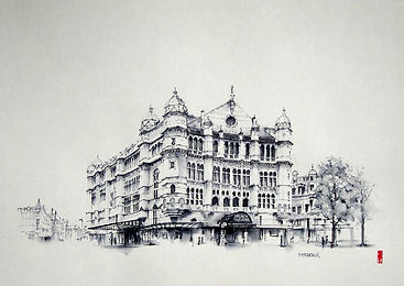 london palace theatre pen and ink art
