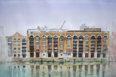 thames london wharves gun art watercolor