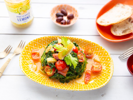Warm Spinach Salad with Fresh Tomatoes and Preserved Lemons