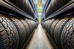 Car tires at warehouse