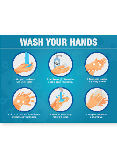 Case of 12 Wash Hands Signs