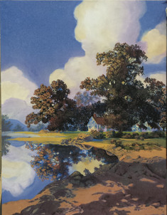 """Scenic Painting, Copy of Maxfield Parrish's """"Sheltering Oaks"""""""