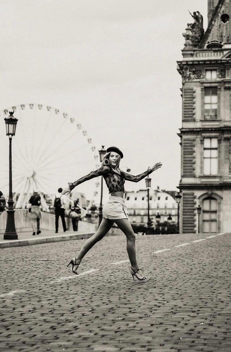 running through paris france high fashion