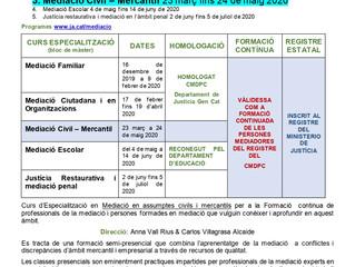 Curs d'Especialització en Mediació Civil – Mercantil 23 març fins 24 de maig 2020
