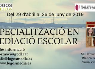 Especialitat de mediació a l'àmbit escolar  BCN 29 abril fins 26 de juny de 2019