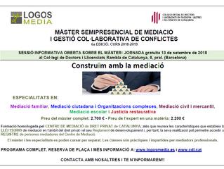 MÀSTER DE MEDIACIÓ I GESTIÓ COL·LABORATIVA DE CONFLICTES CURS 2018/2019 – 6a edició matrícula oberta