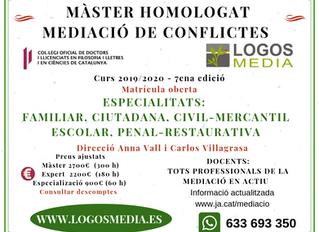 MÀSTER DE MEDIACIÓ I GESTIÓ COL·LABORATIVA DE CONFLICTES CURS 2019/2020 – 7ena edició matrícula ober