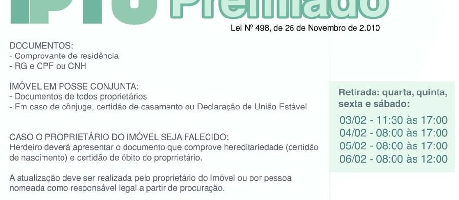 """""""IPTU Premiado"""" irá sortear prêmios para contribuintes em dia com o imposto"""