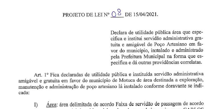 Projeto transfere definitivamente para a Prefeitura área e poço artesiano do Pica-pau
