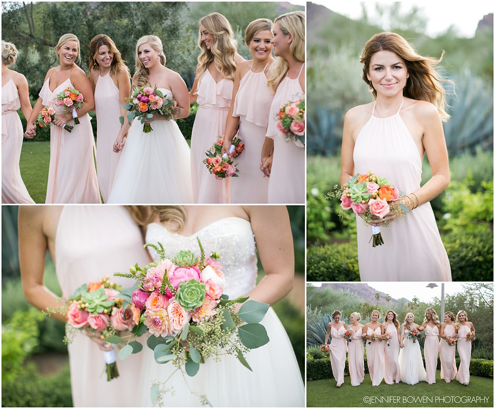 blush pink bridesmaids gowns, beautiful dresses, flowers, wedding, pretty