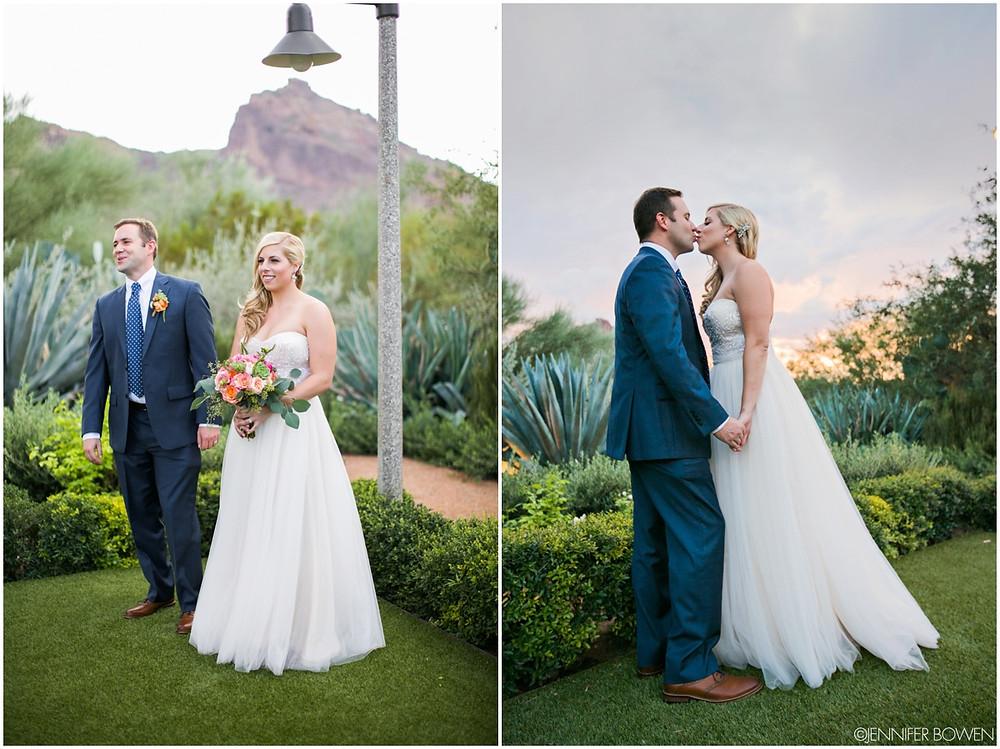 camelback mountain, wedding in arizona, el chorro, bride and groom, navy suit
