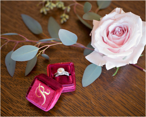 the mrs box, wedding rings, wedding photography, jennifer bowen, ring photos, details, rose, burgundy, merlot colors