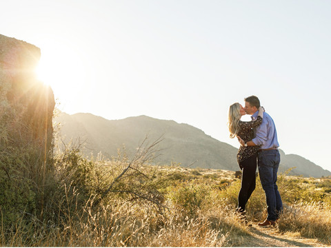 Sunset Engagement Photos in the Warm Glow of Arizona's Beautiful Desert