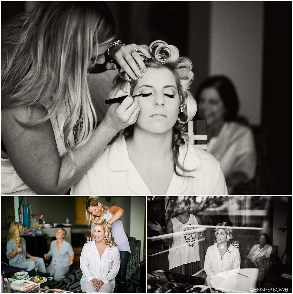 bride gets her makeup done for her wedding day