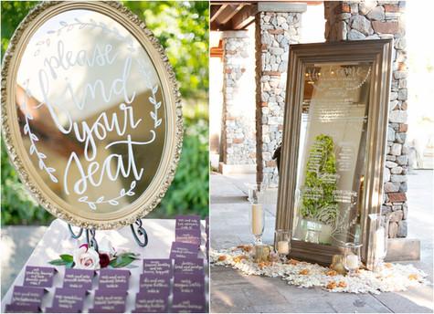 hand painted mirror, wedding decor, ideas, gold, mirrors, vintage, calligraphy, hand lettering, paradise valley country club, purple, plum, white, arizona, scottsdale, ©Jennifer Bowen photographer