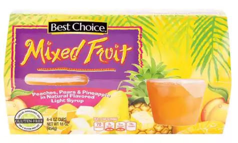 BC DICED MIXED FRUIT CUPS - 4-PK