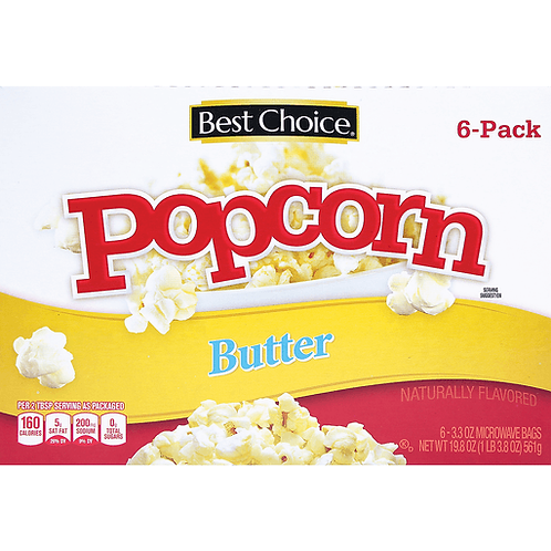 BC BUTTER FLAVOR MICROWAVE POPCORN 6 CT