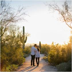 sunset engagement session in the desert