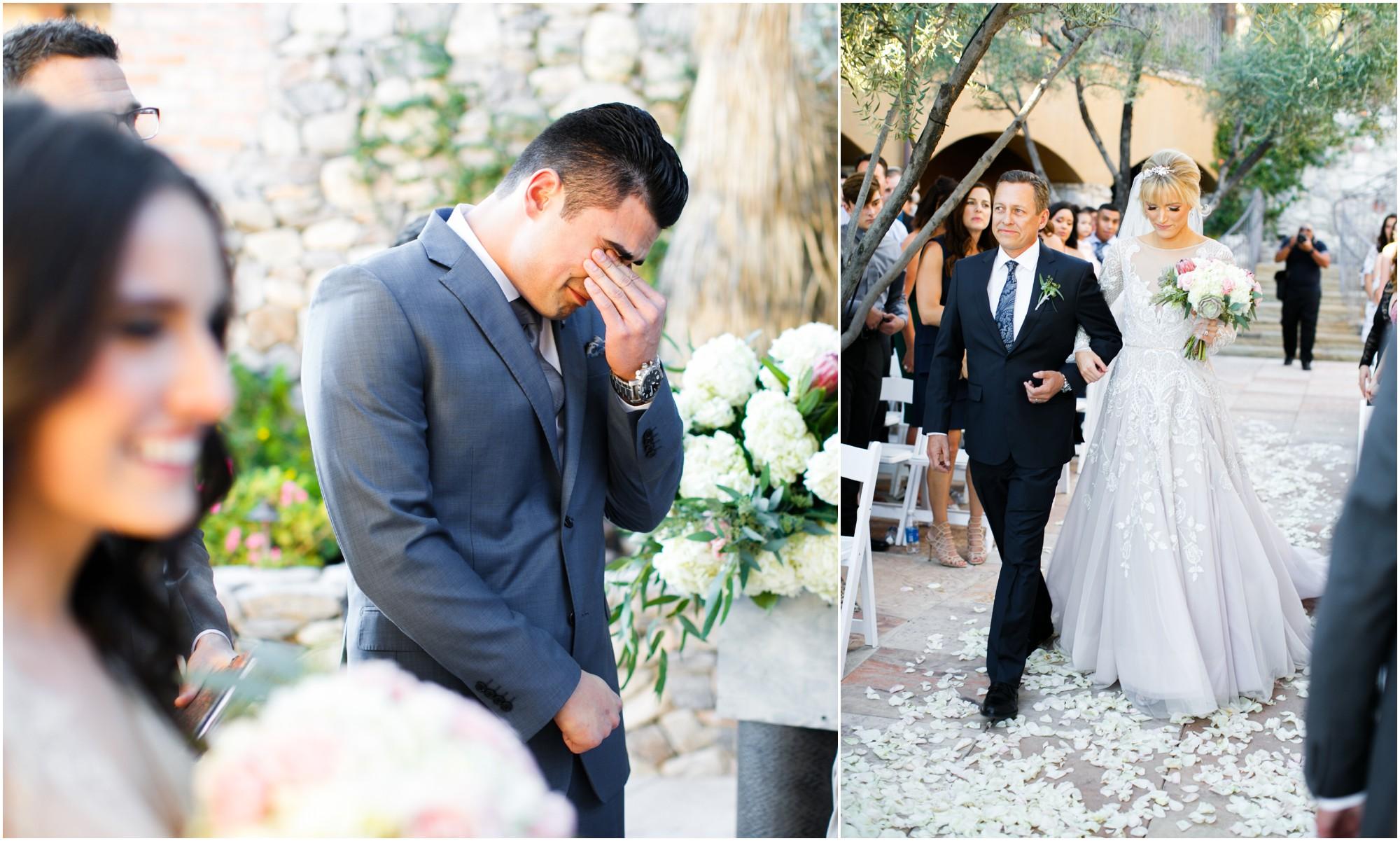 Groom sees his bride walk down aisle