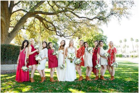 Red dresses for bridesmaids, arizona wedding photography
