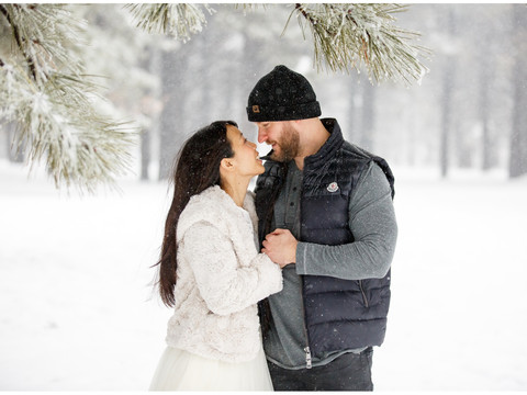 Snowy Engagement Session in Flagstaff